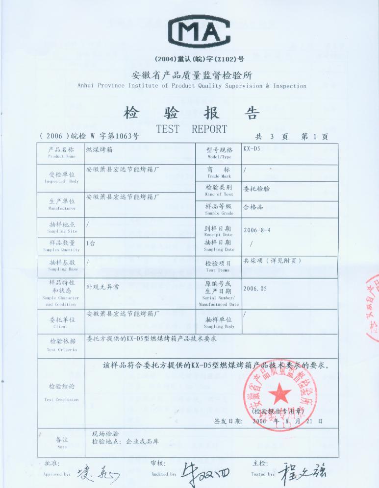 安徽三省食品机械有限公司荣誉证书