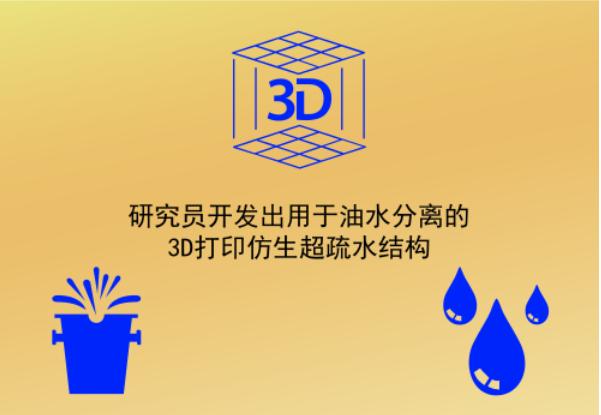 研究员开发出用于油水分离的3D打印仿生超疏水结构