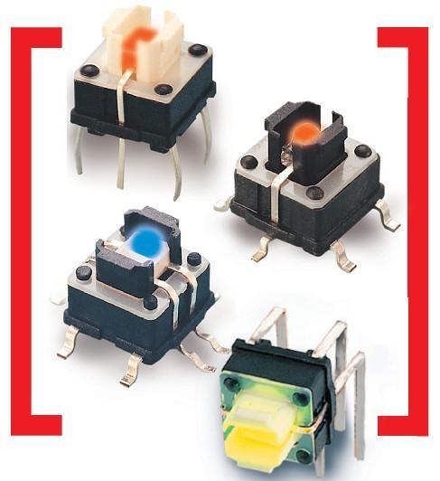 带灯轻触开关颜色有绿光,红光,橙光,蓝光颜色鲜艳,亮度高,开