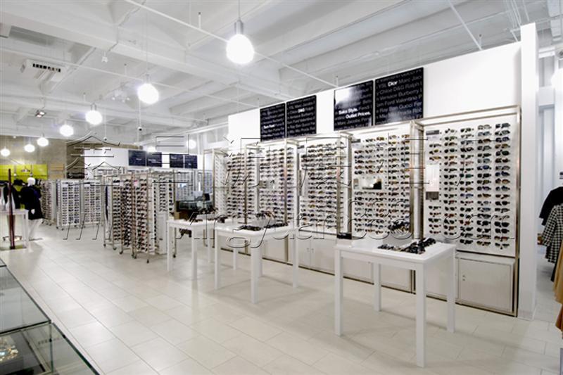 品牌眼镜专卖店装修设计 烤漆眼镜陈列柜 木制精品眼镜展柜制作