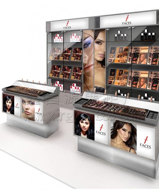 化妆品展示柜台设计 商场美妆展架制作