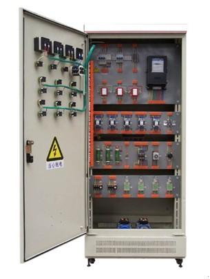 维修电工考核柜以标准的电气控制柜为主柜,利用柜体的双面空间,布置