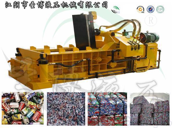 易拉罐材料系列小型打包机 适用挤压力量:63吨-100吨 包块重量:10-20公斤(可定制) 常规包块大小:200*200*200(可定制) 满负荷用电量:8-13 kw/h 包块经由门盖缸、侧缸、主缸 3次冷压成形,密度可至1.0-1.2t/m3,杜绝废料回收中途环节损失,便于储运,利于炉炼 联系电话:+8615251586028 咨询QQ:1306327329 圣博液压公司简介: 江阴市圣博液压机械有限公司是一家废金属液压回收设备的专业制造商。占地面积30000平方米,金属加工机床及标准设备50余台套