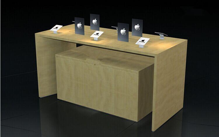 新款木纹苹果体验台木质烤清漆手机体验桌手机展柜手机柜台