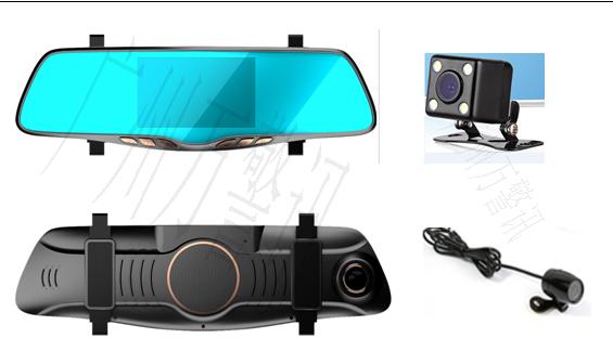 万警讯蓝色双镜头行车记录仪/高清行车记录仪/行车记录仪